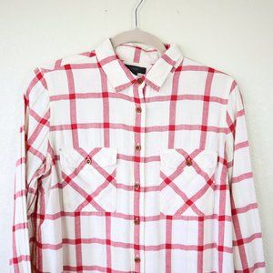 J. Crew Tops - J. Crew Cream and Red Button Down Shirt